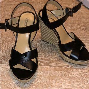 Michael Korea's black leather wedges 8 NWOB